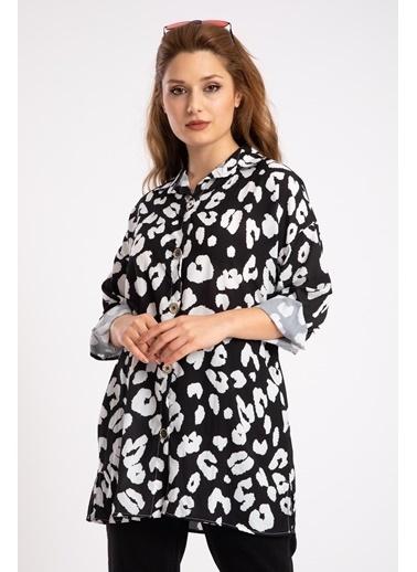 Madame Sare  Kadın Siyaz Beyaz Desenli Salaş Gömlek Siyah